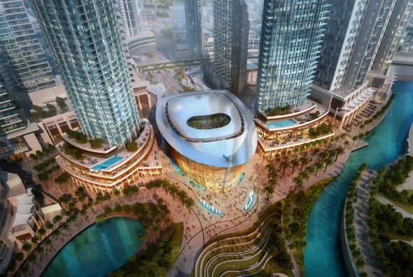 Das neue Opernhaus setzt inmitten der Hochhausriesen auch einen architektonischen Blickfang.