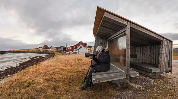 Unterstände wie dieser auf der Insel Vadsø bieten attraktive wie geschützte Beobachtungsmöglichkeiten. (Foto Tormod Amundsen)