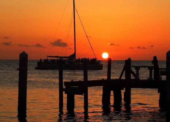 Der Sunset vor Key West ist fast schön kitschig schön. (Foto Katharina Büttel)