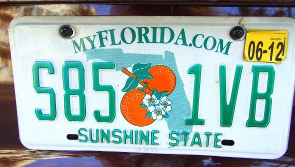 In Miami wird der Sunshine State auch auf dem Nummenrschild der Autos spazieren gefahren. (Foto Katharina Büttel)