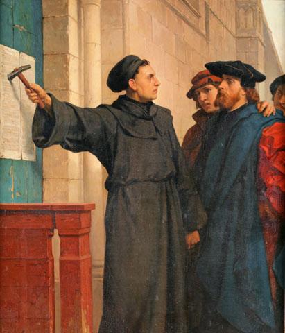 """Ferdinand Pauwels: """"Luthers Thesenanschlag"""". Gemälde aus dem Jahr 1872. (Foto: djd)"""