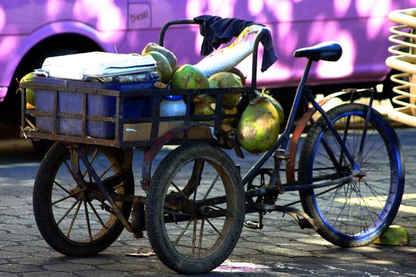 Selbst vom Fahrrad aus bieten die Dominikaner ihre Waren feil. (Foto Karsten-Thilo Raab)