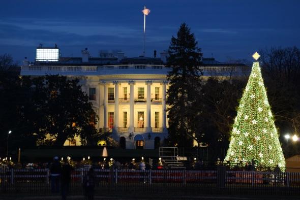 """Der """"National Christmas Tree"""" wird am 1. Dezember 2016 vor dem Weißen Haus von der Präsidenten-Familie mit einer hochoffiziellen Zeremonie in Szene gesetzt. (Foto Destination DC)"""