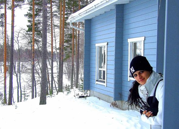 In Savonlinna ist Winterfreude auch Ton in Ton in finnischen Holzhäuschen garantiert. (Foto Katharina Büttel)