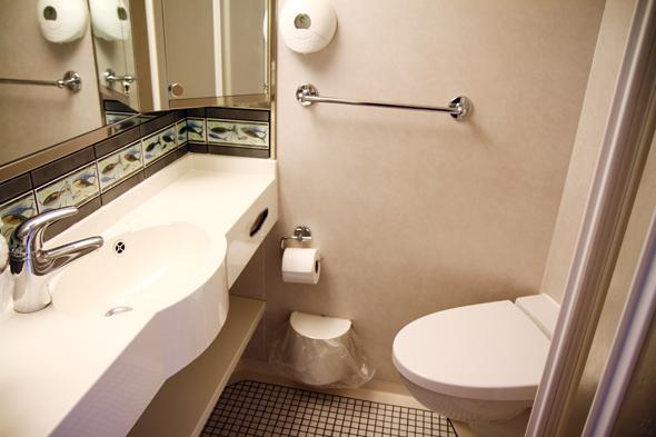 Die Nasszelle ist mit Waschbecken, Dusche und Toilette ausgestattet. (Foto Karsten-Thilo Raab)
