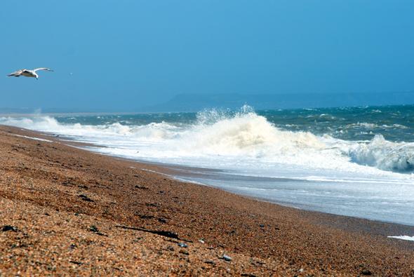 Der 20 Kilometer lange Chesil beach gilt als geologische Besonderheit an der Jurassic Coast. (Foto Karsten-Thilo Raab)