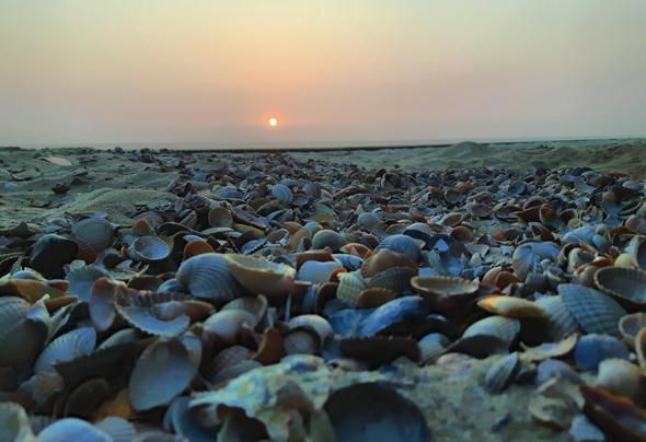 Sonnenuntergangsstimmung am Nordseestrand in Julianadorp. (Foto Karsten-Thilo Raab)