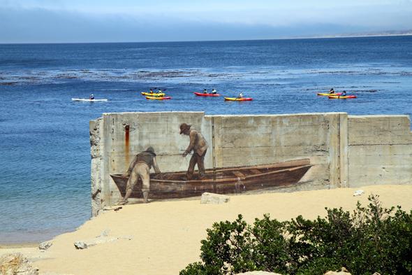 Selbst mit Wandmalereien wird der ehemaligen Sardinen-Industrie gedacht. - Foto Karsten-Thilo Raab