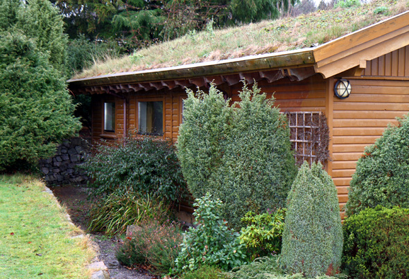 Nicht wenige Häuser in dem schottischen Ökodorf verfügen über Gras bewachsene Dächer. - Foto Karsten-Thilo Raab